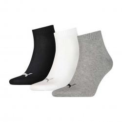 Puma quarter plain bco/gris/negro 3 pares