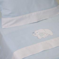 Juego de sábanas cuna franela elefante azul