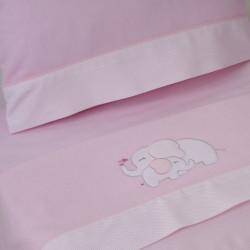 Juego de sábanas cuna franela elefante rosa