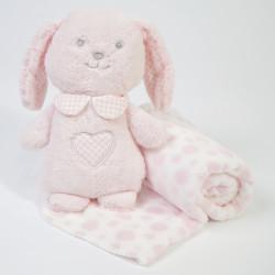 Manta + conejo de peluche rosa