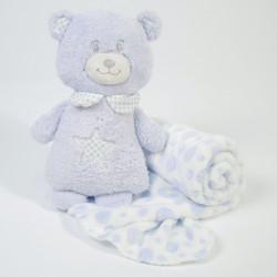 Manta + oso de peluche azul