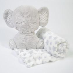 Manta + elefante de peluche gris