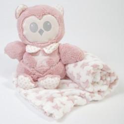 Manta + buho de peluche rosa