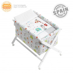 Minicuna bebé con vestidura mod. jungla blanco