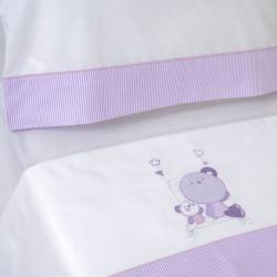Juego de sábanas cuna 121 bco/lila