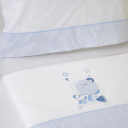 Juego de sábanas cuna 121 bco/azul