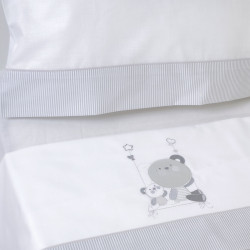 Juego de sábanas cuna 121 bco/gris