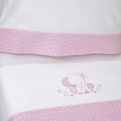 Juego de sábanas cuna 084 blanco/rosa