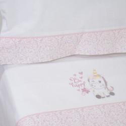 Juego de sábanas cuna unicornio 124 blanco/rosa