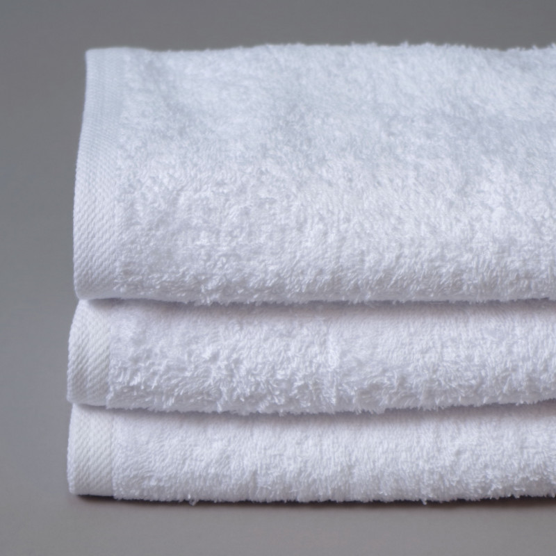 Toalla algodón cardado 50x100cm blanco - Pack 3 unidades