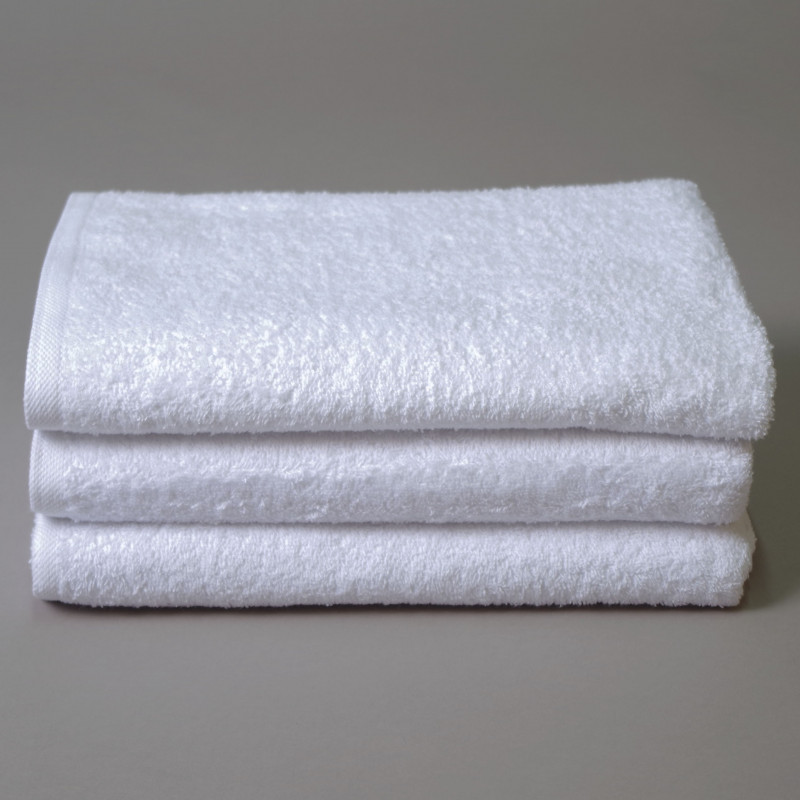 Toalla algodón cardado 70x140cm blanco - Pack 3 unidades