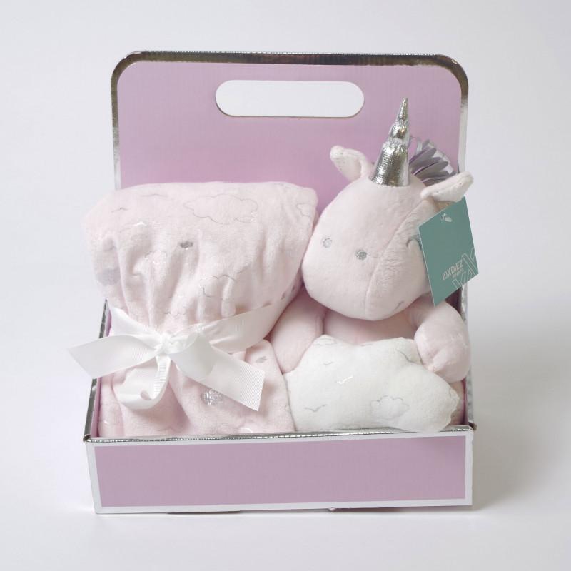 Manta + unicornio de peluche rosa