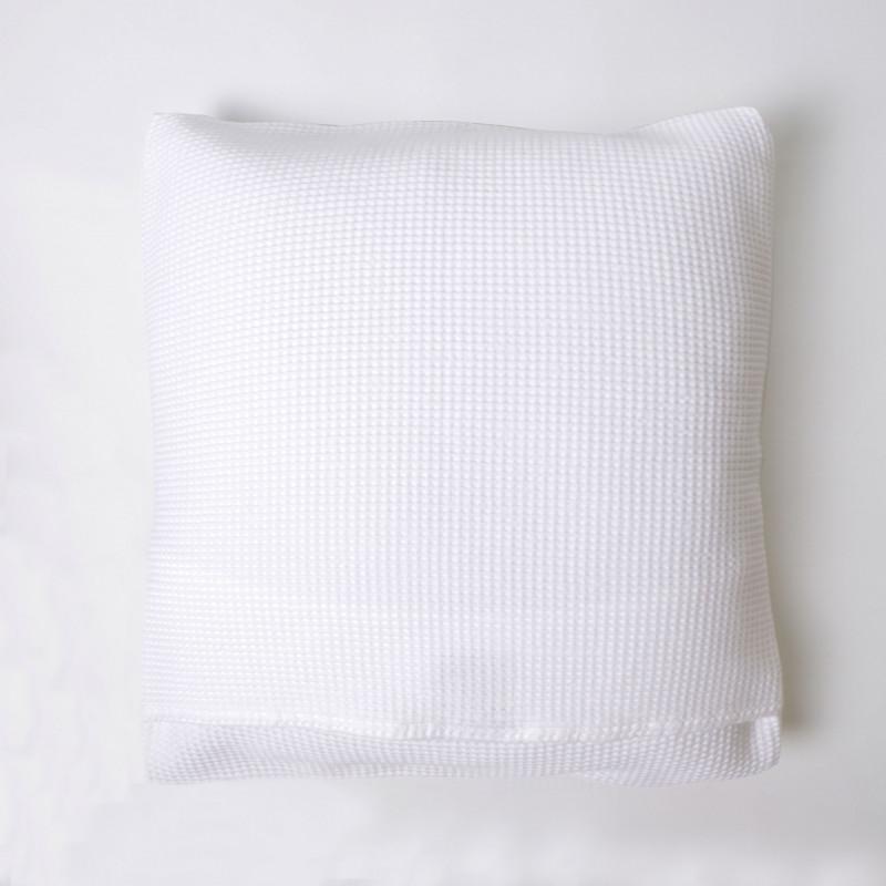Funda de cojín nido abeja algodón blanco