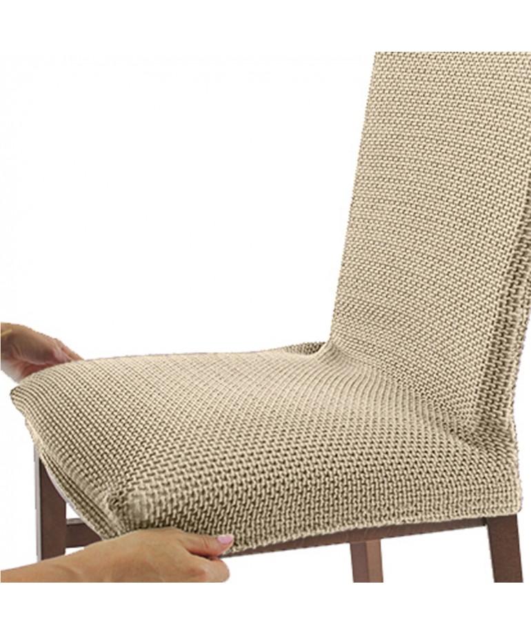 Funda silla con respaldo glamour diezxdiez for Fundas para sillas comedor