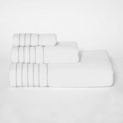 Juego de toallas stripe blanco/gris