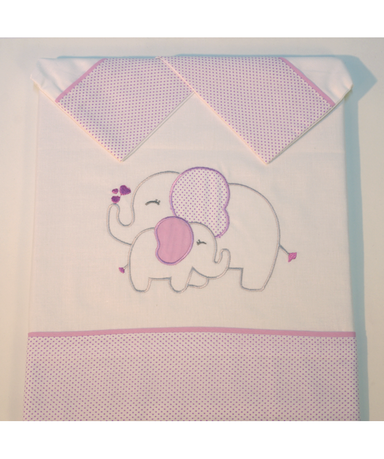 Juego de s banas cuna elefante blanco lila diezxdiez - Sabanas de bebe para cuna ...