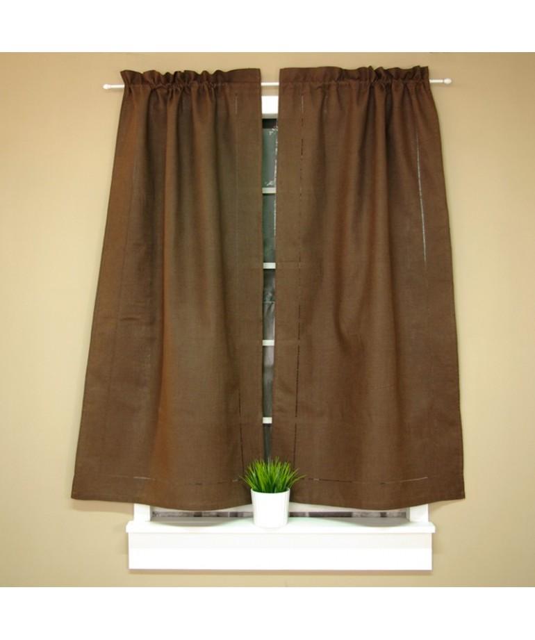 cortina gusanillo vainica lino marrn