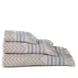 Set 2 toallas jacquard zig-zag beig