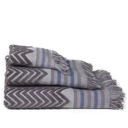 Set 2 toallas jacquard zig-zag gris