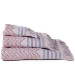 Set 2 toallas jacquard zig-zag rosa