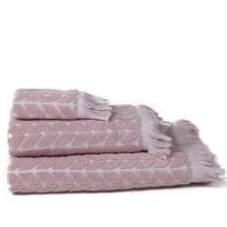 Set 2 toallas jacquard espiga rosa