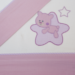 Juego de sábanas cuna franela star blanco/lila